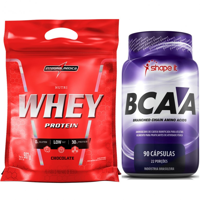 8fc1ae72b Kit Nutri Whey 907g Integralmédica + BCAA 90 Cápsulas Shape It ...
