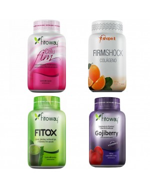 Kit Anti-celulite Cellufim + Colágeno Firm Shock + Detox Fitox + Goji Berry